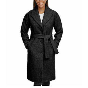 Kenneth Cole Women's Coat Black Boucle Wrap Lined